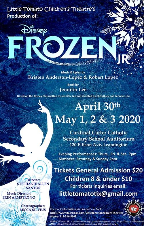 Frozen Jr Poster Final Little Tomato Children's Theatre Company