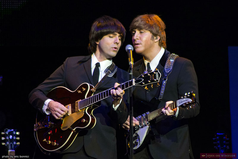 The Fab Four band members Gavin Pring as George Harrison and Adam Hastings as John Lennon