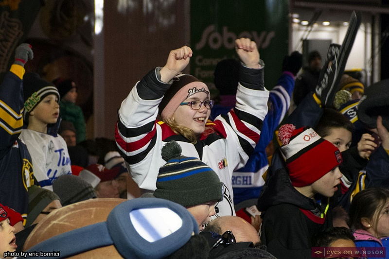 girl cheering at Rogers Hometown Hockey in Lasalle