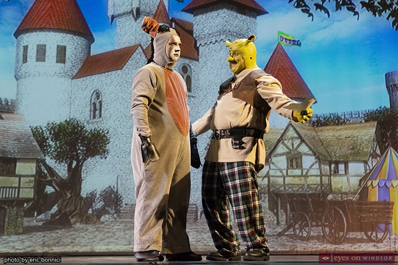 Aaron Bergeron as Donkey and Joe Cardinal as Shrek