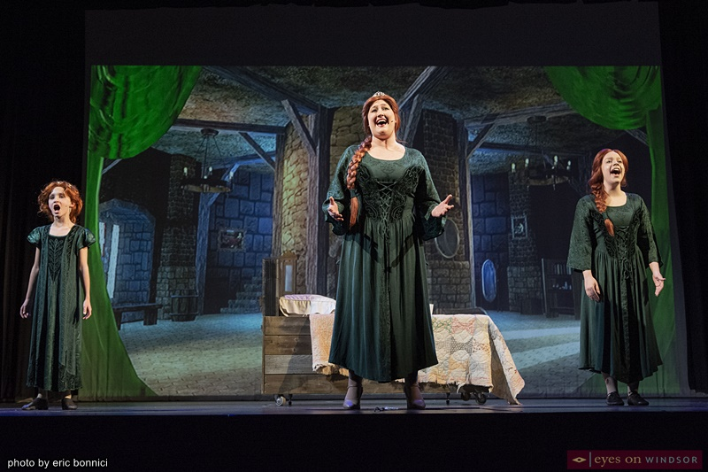 Koen Kavanaugh, Nina Fasullo and Alicia Bray as Fiona in Shrek The Musical
