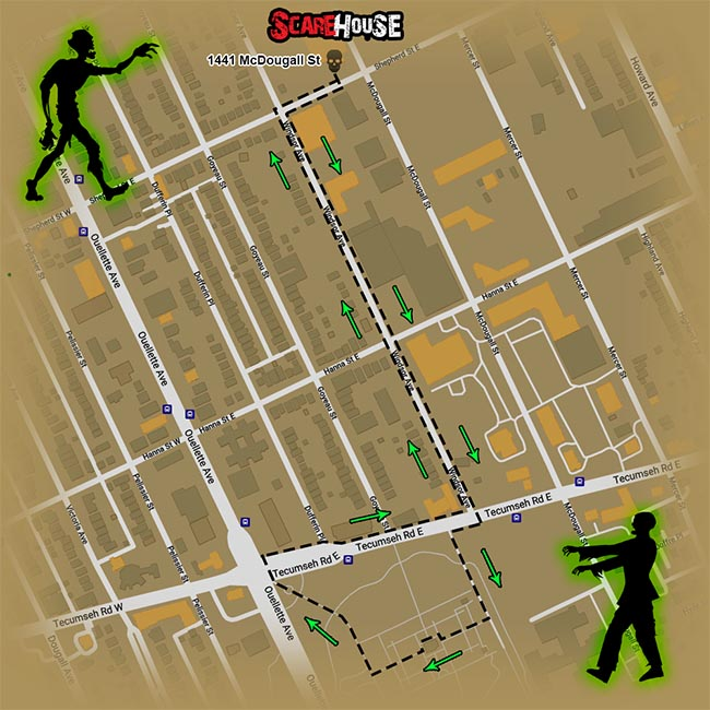 Windsor Zombie Walk Map Route