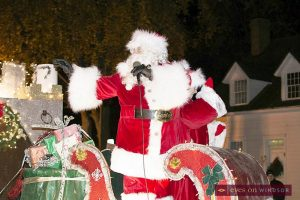 Santa Claus waving to the crowd during the Amherstburg Santa Claus Parade.