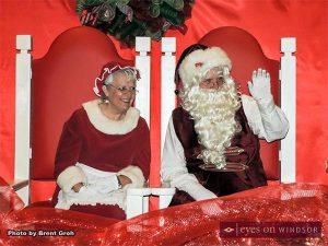 Santa & Mrs. Claus visiting during Christmas in Tecumseh Holiday Celebration and Santa Parade