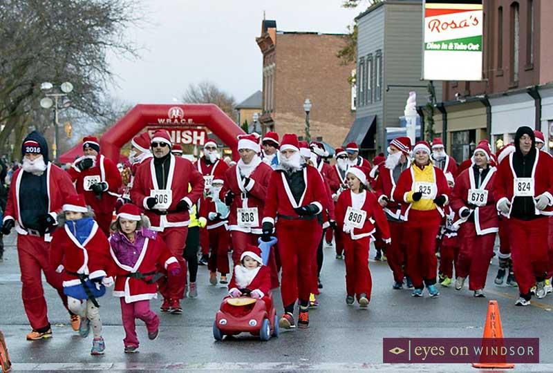 Runners in the Super Santa Run in Amherstburg
