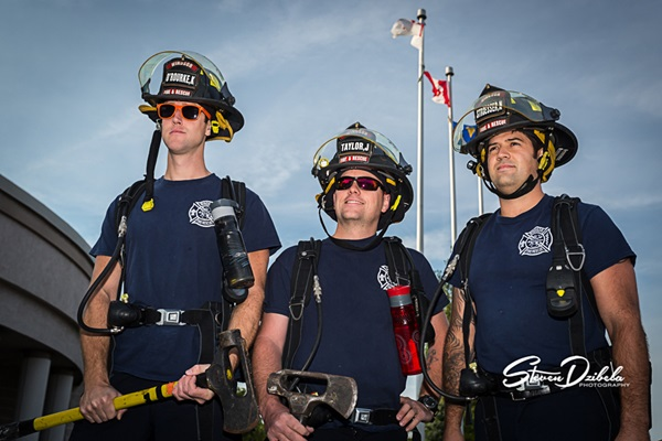 Windsor Firefighters Kieran O-Rourke, Jeremi Taylor, and Nick Stroesser at Trott with the Troops 2014