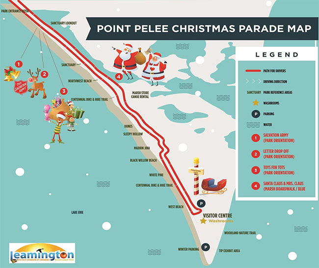 Map of the Drive Through Leamington Christmas Parade Route Through Point Pelee National Park