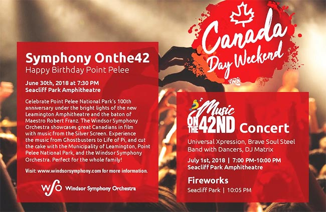 Canada Day Celebration, Entertainment, and Fireworks in Leamington Poster.