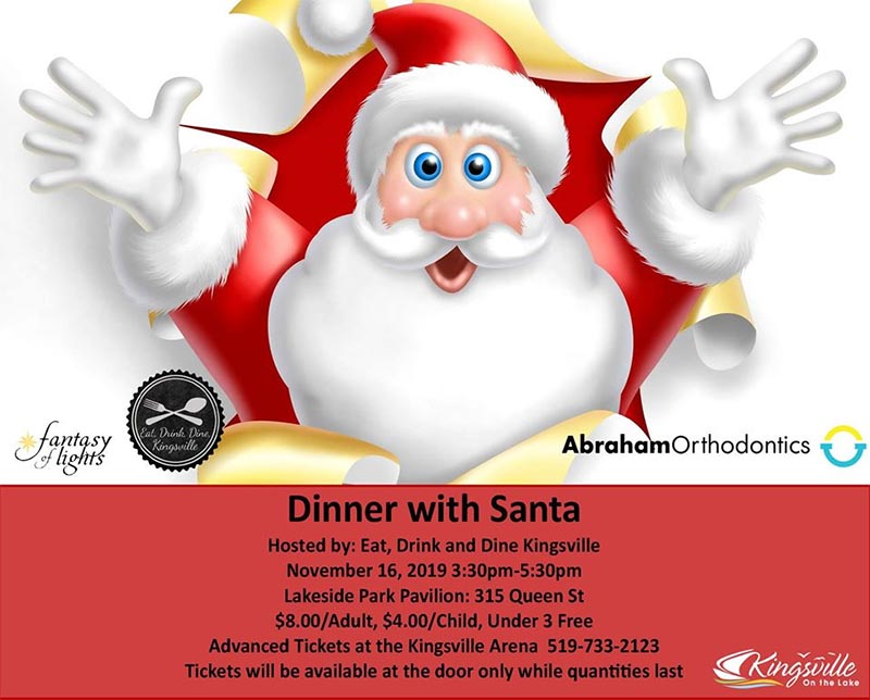 Dinner With Santa in Kingsville, Ontario, Poster.