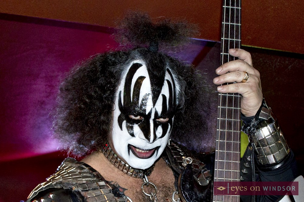 Moe Rotondi as Kiss vocalist Gene Simmons performs at fundraiser in Windsor, Ontario.