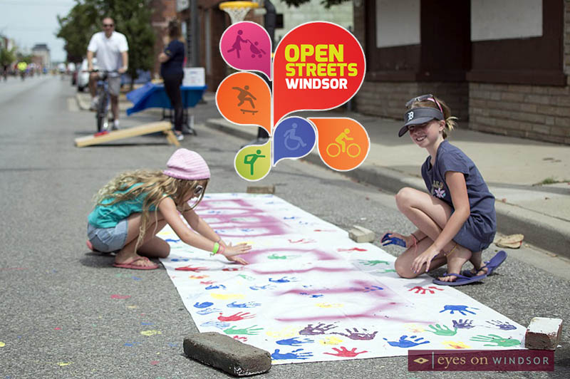 Opwn Streets Windsor, 2 young girls painting in Ford City.