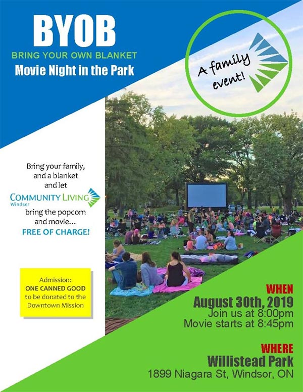 Community Living Windsor Annual Movie in The Park at Willistead Park (Bring Your Own Blanket, BYOB)