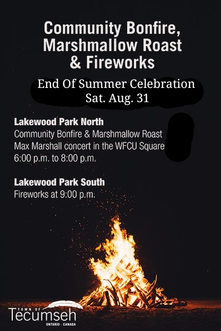 Tecumseh Community Bonfire, Marshmallow Roast, and Fireworks, End Of Summer Celebration Poster