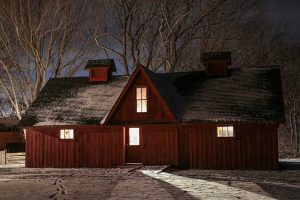 Candlelight Christmas at John R. Park Homestead (Barn lit by candles)