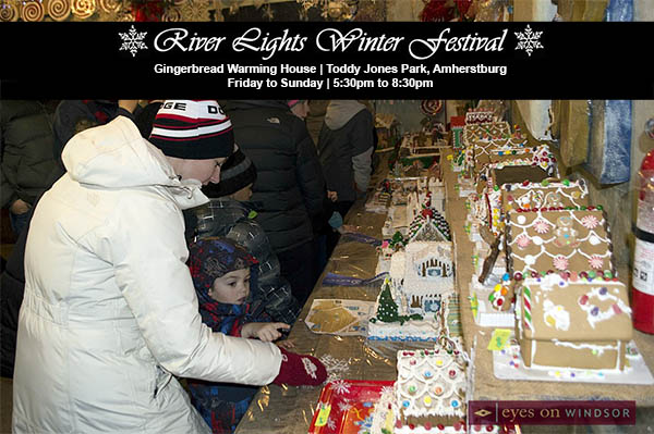 People Enjoying The Gingerbread Warming House during the Amherstburg River Lights Festival