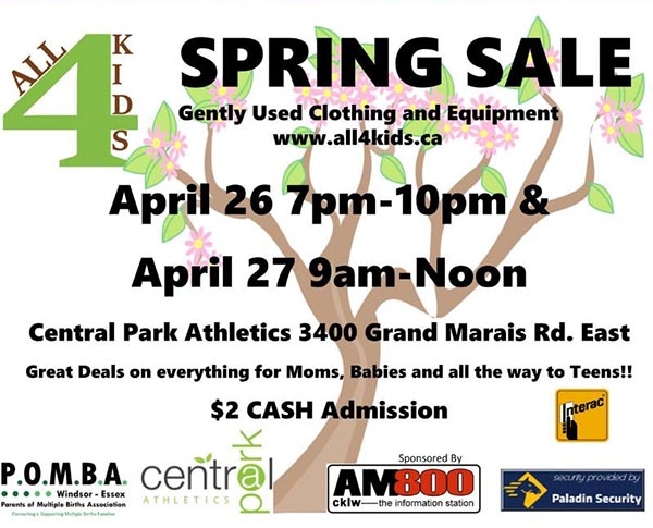 POMBA All For Kids Semi Annual Spring Sale Poster