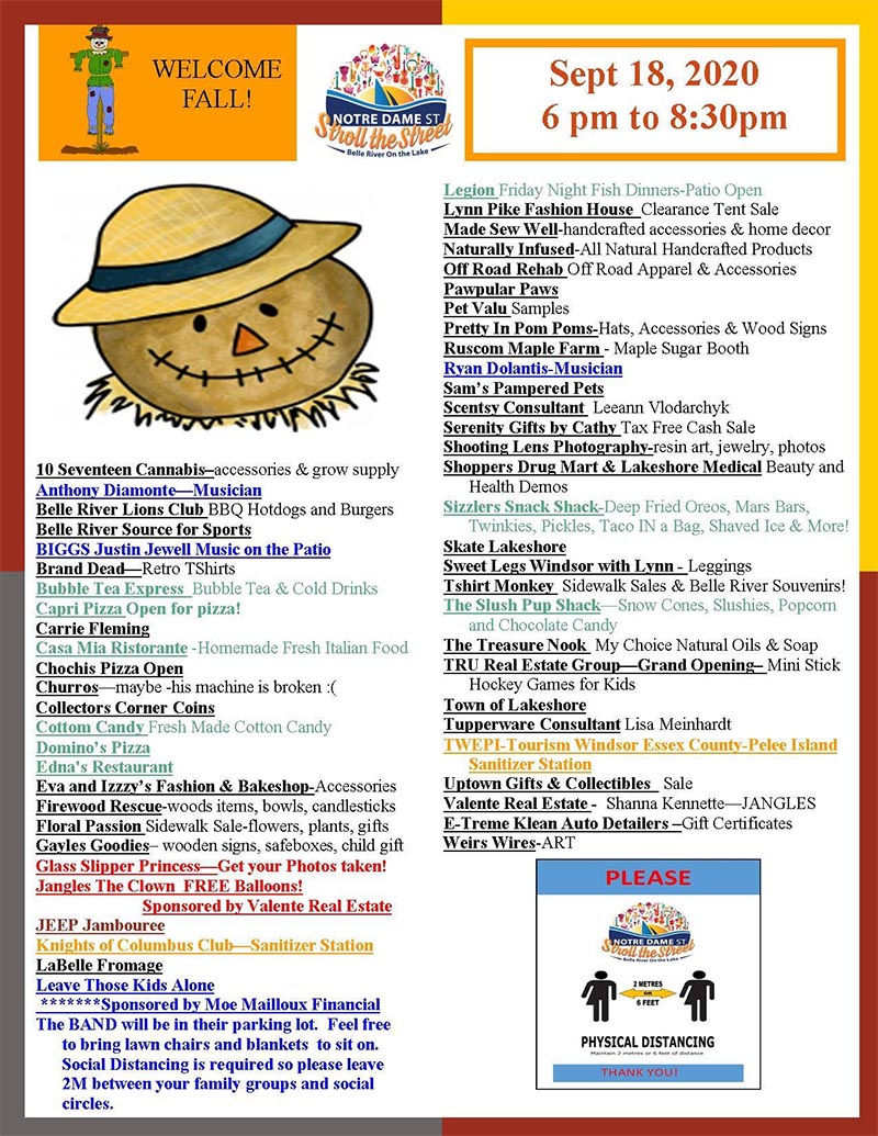 Belle River Stroll The Streets Event Schedule