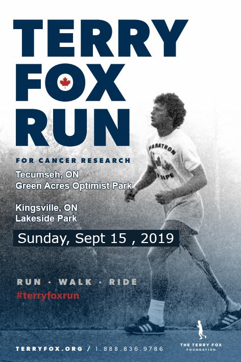 Terry Fox Run Tecumseh and Kingsville Poster