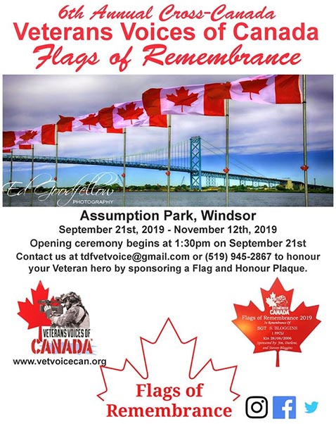 Windsor, Ontario, Veterans Voices of Canada Flags of Remembrance