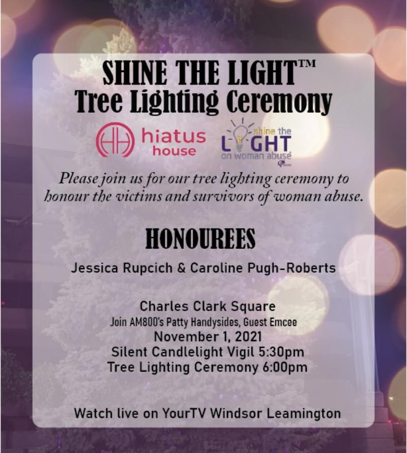 Shine The Light on Woman Abuse Tree Lighting Ceremony Windsor Poster