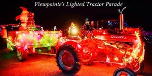 Tractor decorated in holiday lights at Viewpointe Estate Winery's Annual Lighted Tractor Parade
