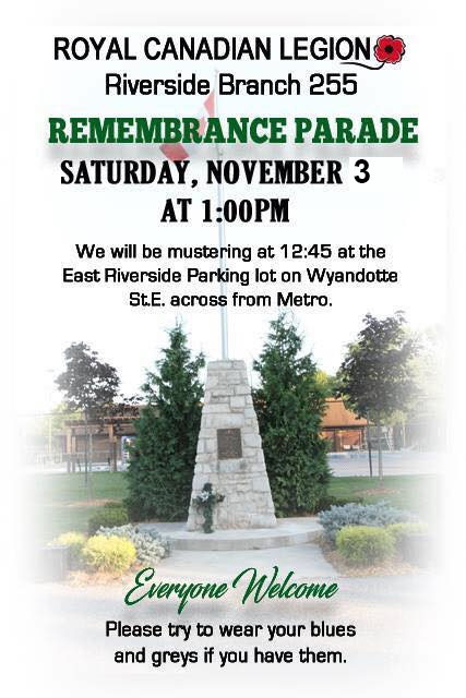 Remembrance Day Ceremony with the Riverside Legion Br. 255 Poster