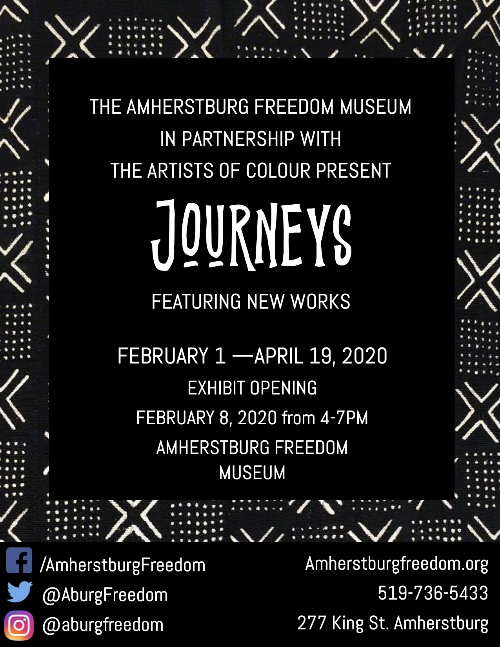Artists of Colour Journeys Exhibit Opening Reception Poster