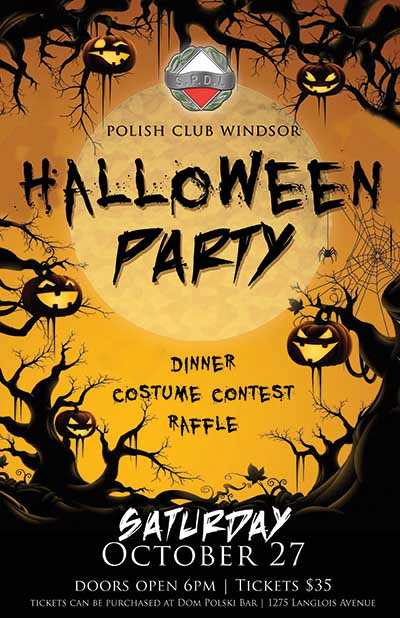 Polish Club of Windsor Halloween Party Poster
