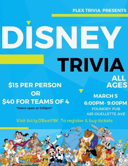 St. Clair College PR Club Disney Trivia Night Poster