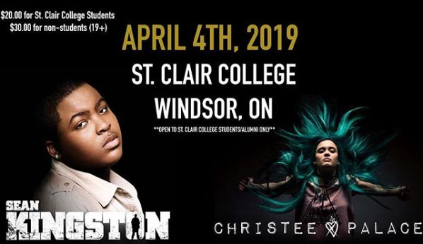 Jamaican rapper, Sean Kingston with special guest Christee Palace at St. Clair College