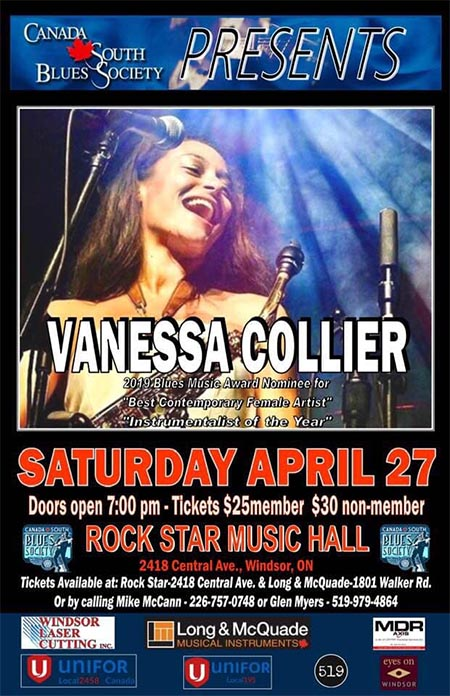 Vanessa Collier Canada South Blues Society Concert Poster