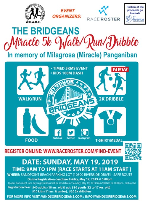 Windsor Bridgeans 5K Miracle Walk, Run, or Dribble Poster