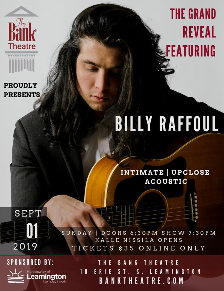 Billy Raffoul Concert Poster Bank Theatre Grand Reveal
