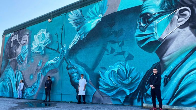 Derkz Completes Canada's Largest Frontline Healthcare Mural Tribute