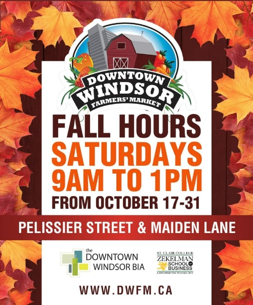 Downtown Windsor Farmers Market Fall Hours