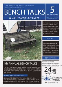 Downtown Mission of Windsor 24 Hour Sleep Out & Bench Talks Poster