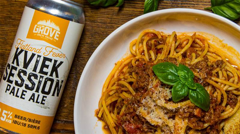 Nonna's Bolognese and Flatand Fever Pale Ale part of Feast On program