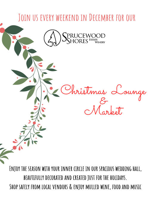 Sprucewood Shores Christmas Lounge and Market Poster