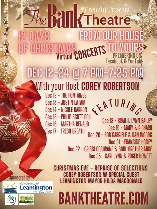 Bank Theatre 12 Days of Christmas Concert Series Poster