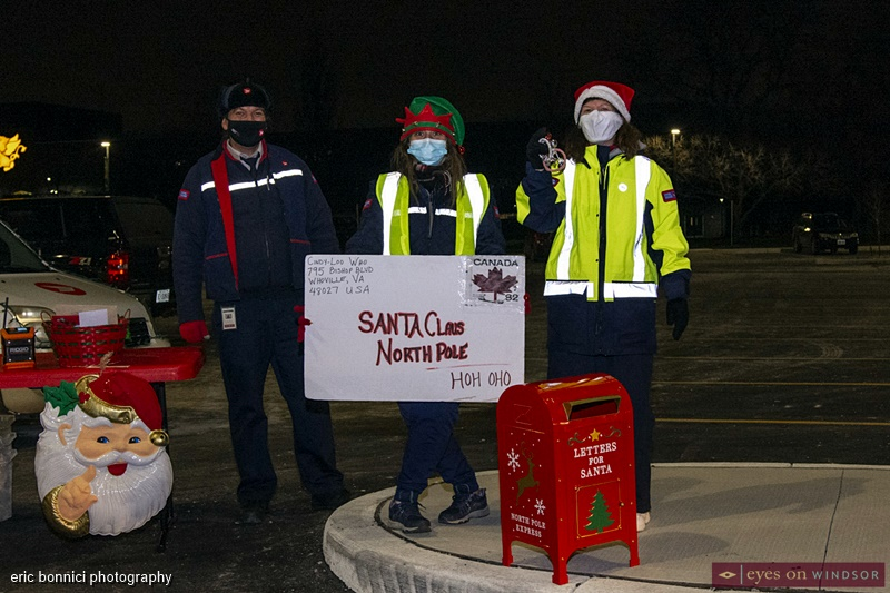 Canada Post Workers collecting letters for Santa