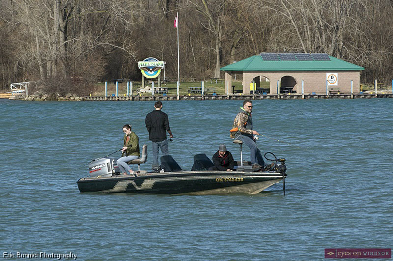 People fishing near Peche Island
