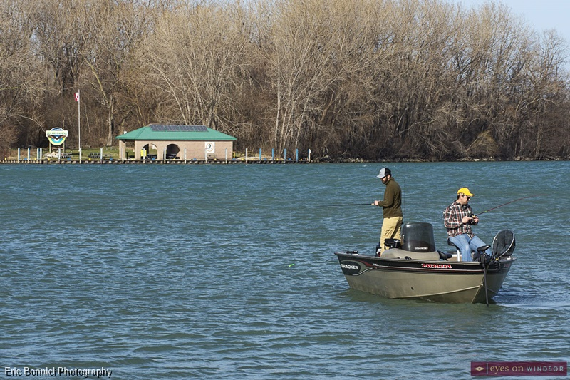Fishing from a boat on the Detroit River
