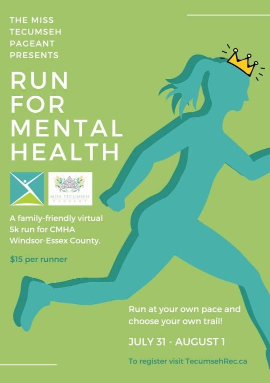 Miss Tecumseh Run For Mental Health Poster