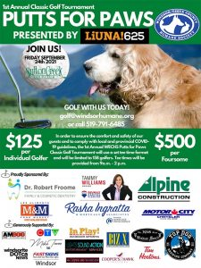 Putts For Paws Gold Tournament Windsor Essex Humane Society Poster